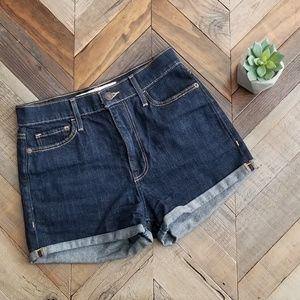 Abercrombie & fitch dark wash high waisted shorts